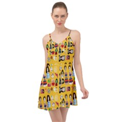 Drawing Collage Yellow Summer Time Chiffon Dress