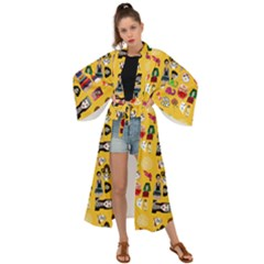 Drawing Collage Yellow Maxi Kimono
