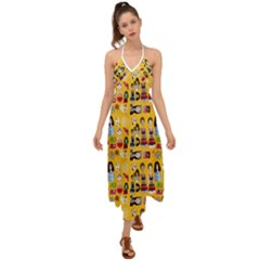 Drawing Collage Yellow Halter Tie Back Dress