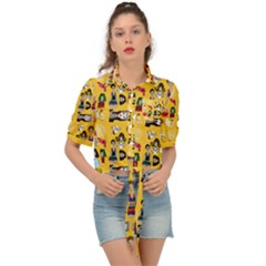Drawing Collage Yellow Tie Front Shirt