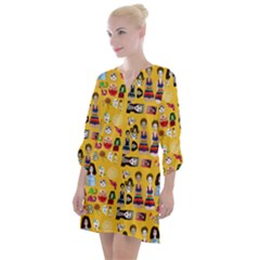 Drawing Collage Yellow Open Neck Shift Dress