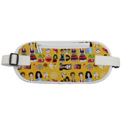 Drawing Collage Yellow Rounded Waist Pouch