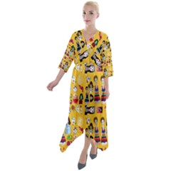 Drawing Collage Yellow Quarter Sleeve Wrap Front Maxi Dress