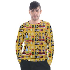Drawing Collage Yellow Men s Long Sleeve Raglan Tee