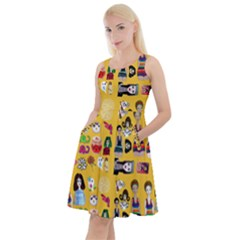 Drawing Collage Yellow Knee Length Skater Dress With Pockets