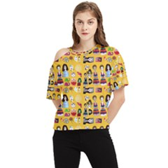 Drawing Collage Yellow One Shoulder Cut Out Tee