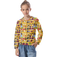 Drawing Collage Yellow Kids  Long Sleeve Tee With Frill