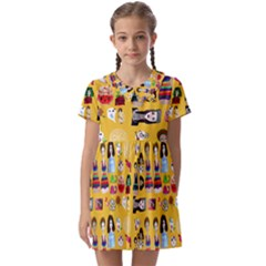 Drawing Collage Yellow Kids  Asymmetric Collar Dress