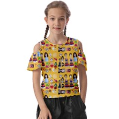 Drawing Collage Yellow Kids  Butterfly Cutout Tee