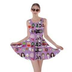 Drawing Collage Purple Skater Dress
