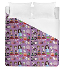 Drawing Collage Purple Duvet Cover (queen Size)