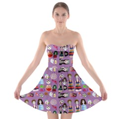 Drawing Collage Purple Strapless Bra Top Dress