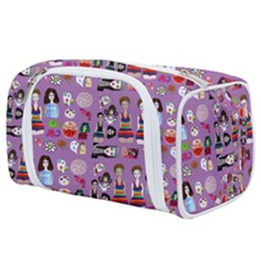Drawing Collage Purple Toiletries Pouch