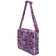 Drawing Collage Purple Cross Body Office Bag