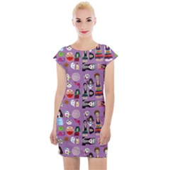 Drawing Collage Purple Cap Sleeve Bodycon Dress