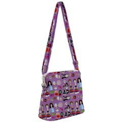 Drawing Collage Purple Zipper Messenger Bag
