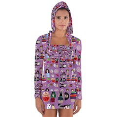 Drawing Collage Purple Long Sleeve Hooded T-shirt