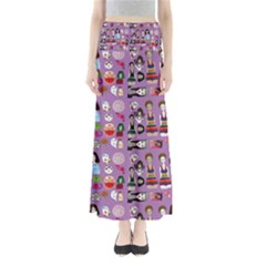 Drawing Collage Purple Full Length Maxi Skirt