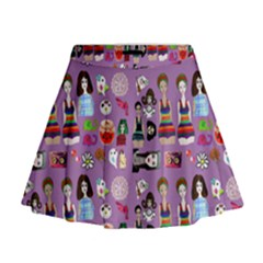 Drawing Collage Purple Mini Flare Skirt