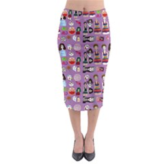 Drawing Collage Purple Midi Pencil Skirt