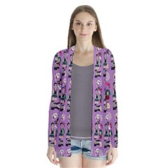 Drawing Collage Purple Drape Collar Cardigan