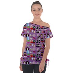 Drawing Collage Purple Off Shoulder Tie-up Tee