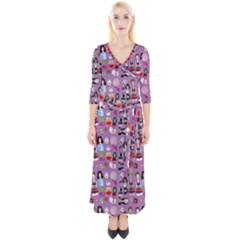 Drawing Collage Purple Quarter Sleeve Wrap Maxi Dress
