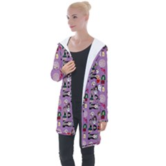 Drawing Collage Purple Longline Hooded Cardigan