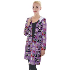 Drawing Collage Purple Hooded Pocket Cardigan