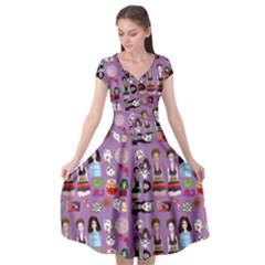 Drawing Collage Purple Cap Sleeve Wrap Front Dress