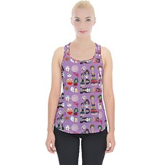 Drawing Collage Purple Piece Up Tank Top