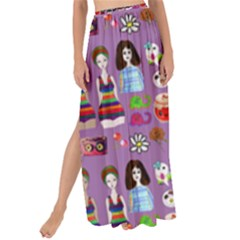 Drawing Collage Purple Maxi Chiffon Tie-up Sarong