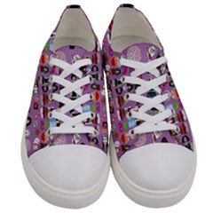 Drawing Collage Purple Men s Low Top Canvas Sneakers