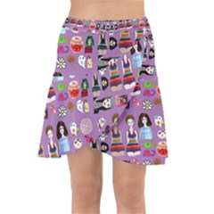 Drawing Collage Purple Wrap Front Skirt
