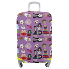 Drawing Collage Purple Luggage Cover (medium)