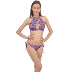 Drawing Collage Purple Cross Front Halter Bikini Set