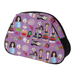 Drawing Collage Purple Full Print Accessory Pouch (small)