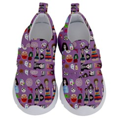 Drawing Collage Purple Kids  Velcro No Lace Shoes