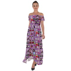 Drawing Collage Purple Off Shoulder Open Front Chiffon Dress