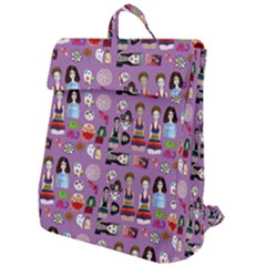 Drawing Collage Purple Flap Top Backpack