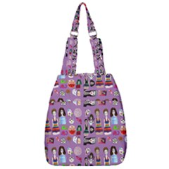 Drawing Collage Purple Center Zip Backpack