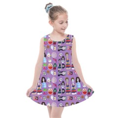 Drawing Collage Purple Kids  Summer Dress