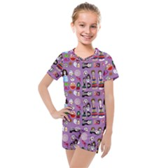 Drawing Collage Purple Kids  Mesh Tee And Shorts Set