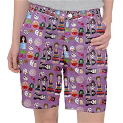 Drawing Collage Purple Pocket Shorts