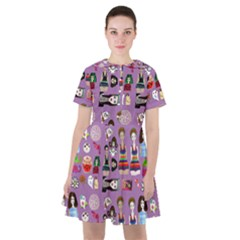 Drawing Collage Purple Sailor Dress
