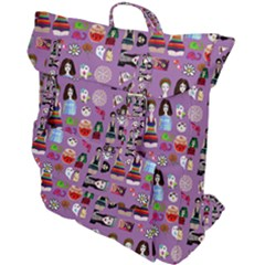 Drawing Collage Purple Buckle Up Backpack