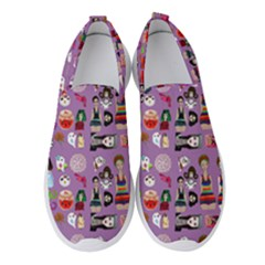 Drawing Collage Purple Women s Slip On Sneakers