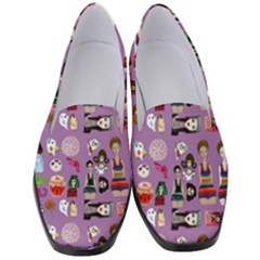 Drawing Collage Purple Women s Classic Loafer Heels