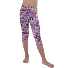 Drawing Collage Purple Kids  Lightweight Velour Capri Leggings