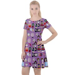 Drawing Collage Purple Cap Sleeve Velour Dress
